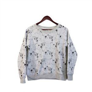 LA Soul Light Gray White Cat Pattern Sweater